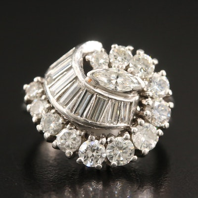 Circa 1960 Platinum 2.26 CTW Diamond Swirl Ring