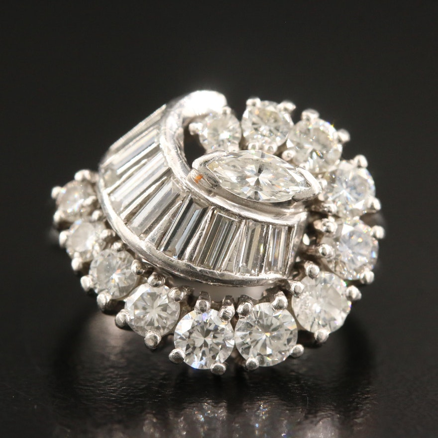 Circa 1960 Platinum 2.26 CTW Diamond Swirl Ring