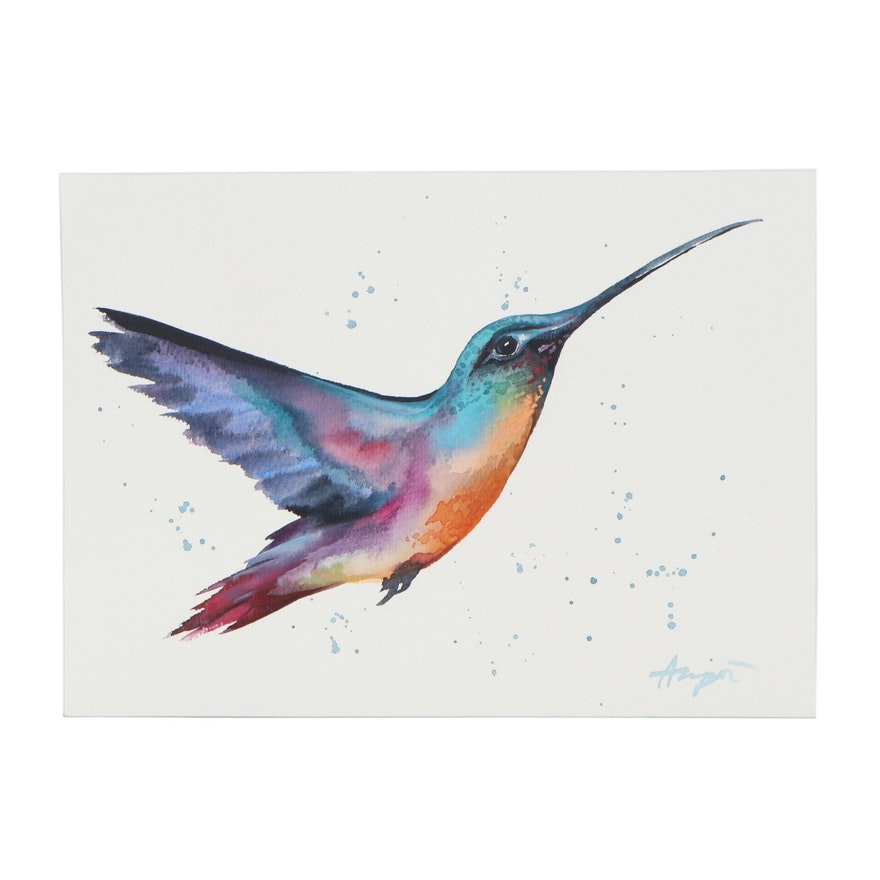 """Anne """"Angor"""" Gorywine Watercolor Painting of Humming Bird, 2020"""