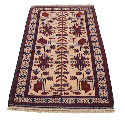 2'9 x 5'4 Hand-Knotted Persian Baluch Accent Rug, 1960s