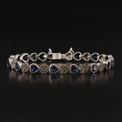 Sterling Silver Faceted Glass and Marcasite Heart Link Bracelet