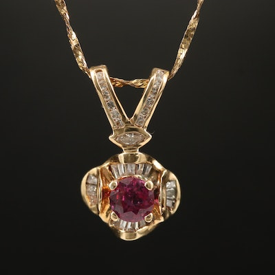 14K 1.04 CT Ruby and Diamond Pendant Necklace