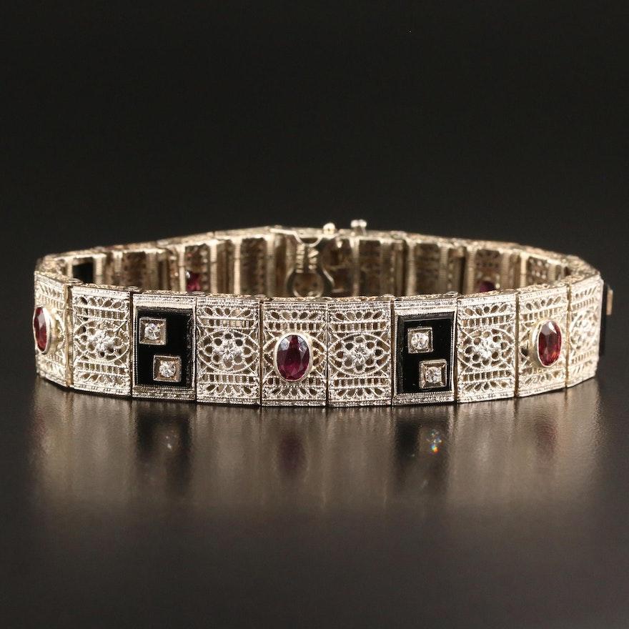 Art Deco 14K Diamond and Gemstone Filigree Panel Bracelet with Platinum Tops