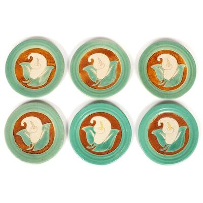 San Jose Pottery Calla Lily Ceramic Plates, Mid-20th Century