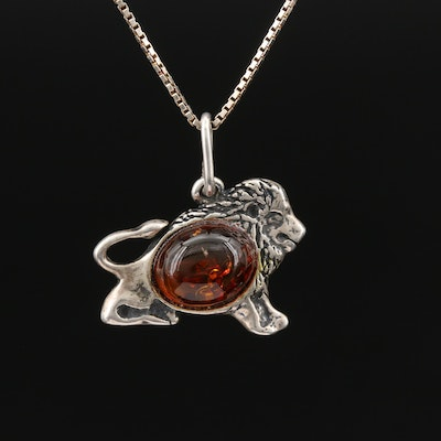 Sterling Silver Amber Lion Pendant Necklace