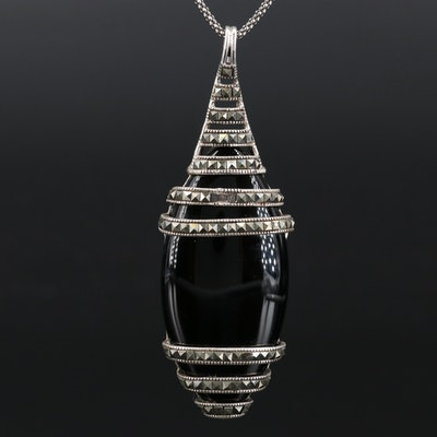 Sterling Silver Black Onyx and Marcasite Pendant Necklace