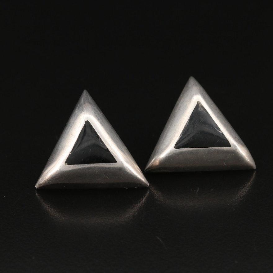 Mexican Sterling Silver Enamel Triangle Earrings