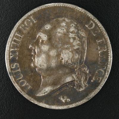 1821 Louis XVIII Silver 5 Franc Coin