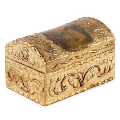 Carved Wooden Box with Sepia Image Accent