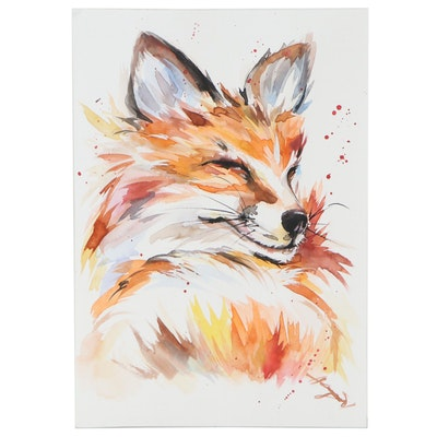 """Anne """"Angor"""" Gorywine Watercolor Painting of Fox, 2020"""