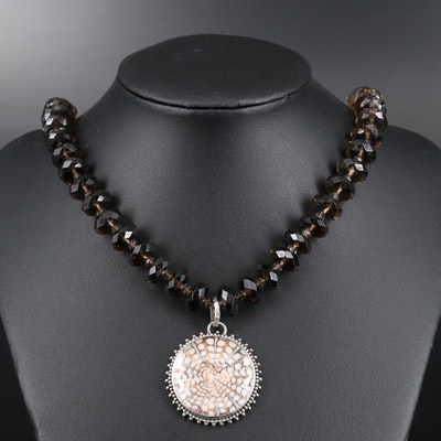 Lori Bonn Sterling Shell, Quartz Doublet and Smoky Quartz Pendant Necklace