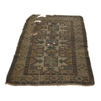 3'7 x 5'1 Hand-Knotted Caucasian Kazak Area Rug, 1890s