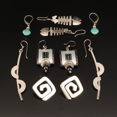 Earrings Including Sterling, Faux Turquoise and Enamel