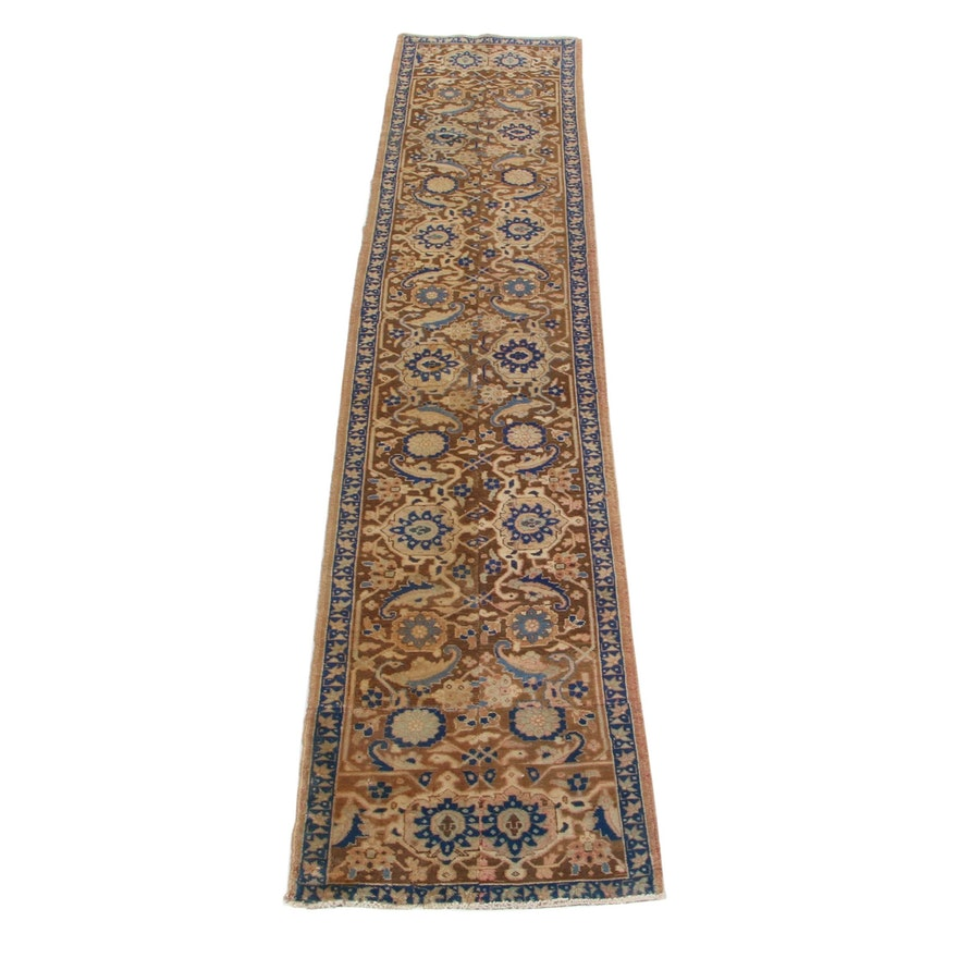 2'4 x 11'5 Hand-Knotted Persian Tabriz Carpet Runner, 1930s