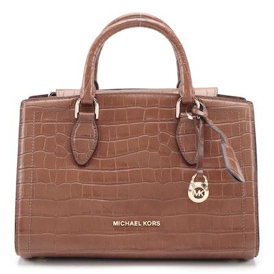 MICHAEL Michael Kors Zoe Croc-Embossed Brown Leather Handbag