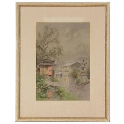 Terauchi Fukutaro Village in the Rain Watercolor Painting
