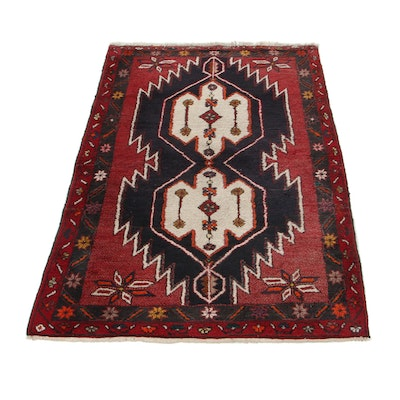 3'4 x 5' Hand-Knotted Persian Zanjan Area Rug, 1970s
