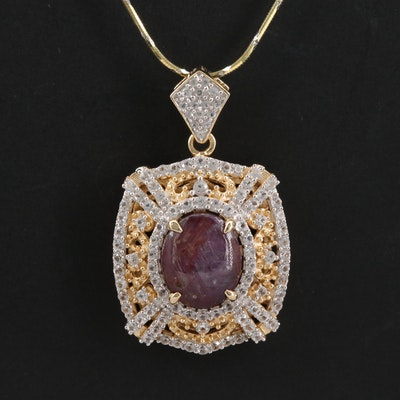 Sterling Silver Corundum and Sapphire Pendant Necklace