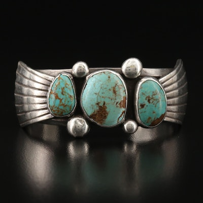 Signed Western Sterling Turquoise Cuff with Wirework Detail