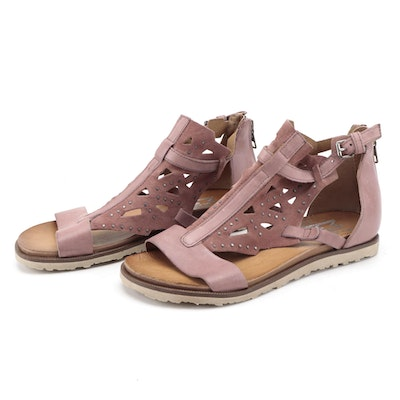 Miz Mooz Studded and Laser Cut Style Suede and Leather Sandals