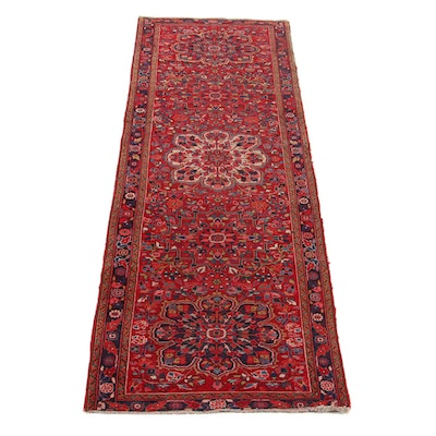 3'9 x 11'8 Hand-Knotted Persian Heriz Long Rug, 1960s
