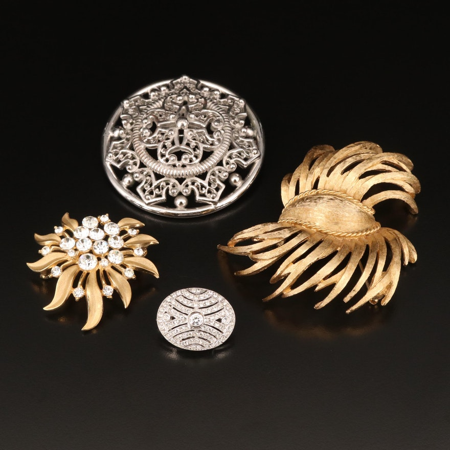 Brooches Including Modital Bijoux Sterling Oval Brooch