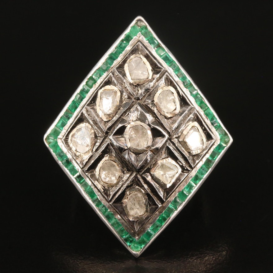 Sterling Silver Diamond and Emerald Geometric Ring