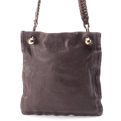 Chloé Brown Leather Crossbody Sac Tote with Patent Leather Trim