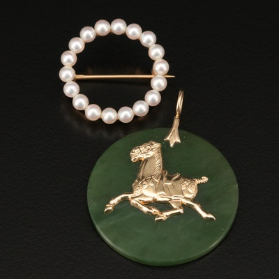 14K Pearl Circle Brooch with 14K Nephrite Horse Pendant