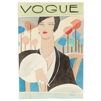 "Eduardo Oliva Watercolor Illustration ""Vogue,"" Late 20th Century"