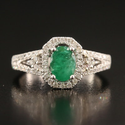 14K 3.20 CT Emerald and Diamond Ring