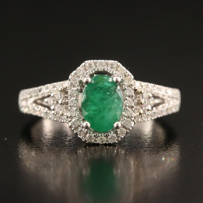 14K 3.20 CT Emerald and Diamond Ring