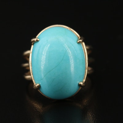 14K Oval Turquoise Cabochon Solitaire Ring