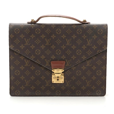 Louis Vuitton Porte-Documents Bandoliere in Monogram Canvas and Leather