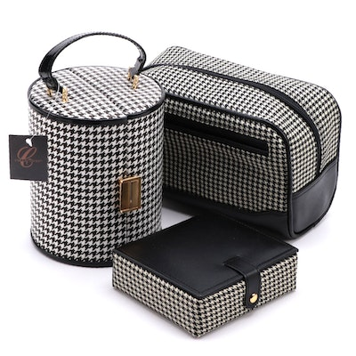 "Collectives ""Eaton"" Dopp Kit, Cufflink Case with ""Coco"" Round Case, Contemporary"