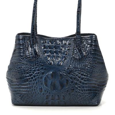 Brahmin Crocodile Embossed Leather Satchel Bag
