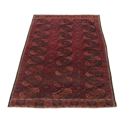 6'1 x 10' Hand-Knotted Afghan Turkmen Area Rug, 1920s