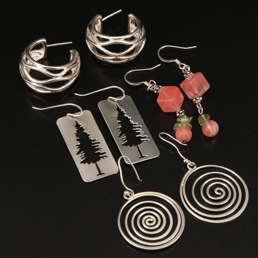 Earrings Featuring Hoop and Spiral Earrings Including Sterling
