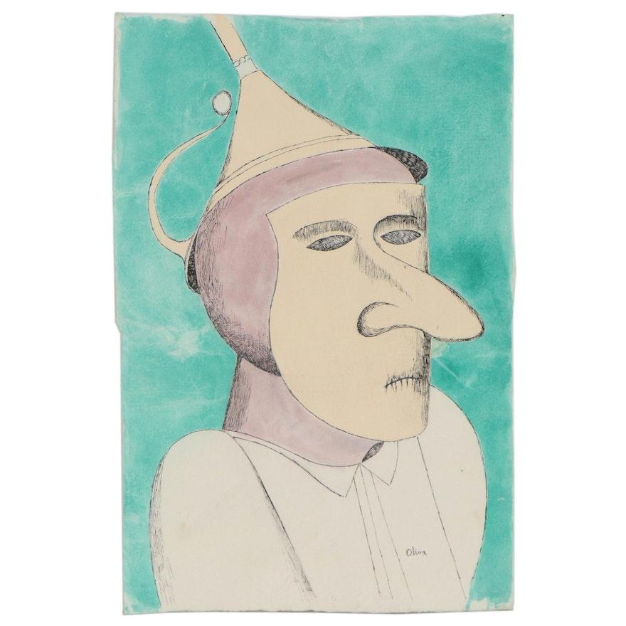 Eduardo Oliva Surrealist Ink and Watercolor Painting, Late 20th Century