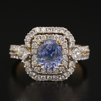 18K 1.62 CT Unheated Sapphire and Diamond Ring with GIA Report