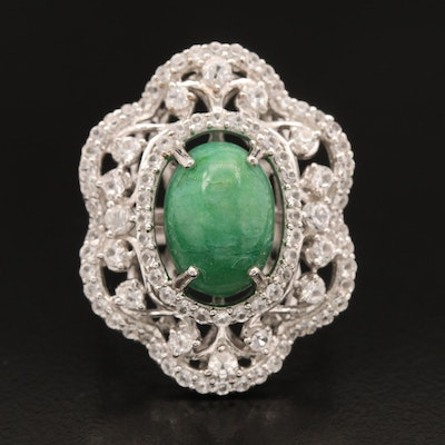 Sterling Beryl and White Sapphire Openwork Ring
