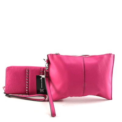 INC International Concepts Fuchsia Studded Wallet and Fringed Wristlet
