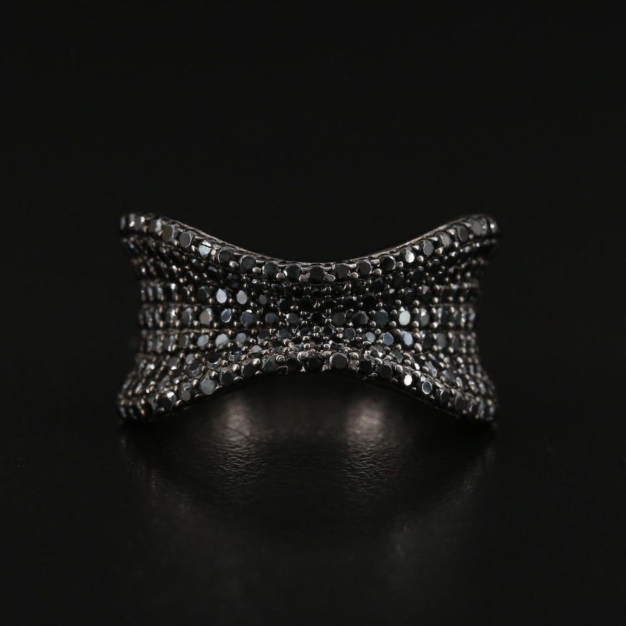 Sterling Black Spinel Pinched Concave Band