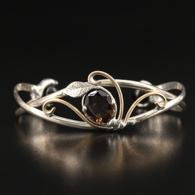 Smoky Quartz and Black Onyx Foliate Cuff