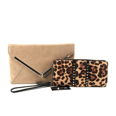 INC International Concepts Cheetah Print Wallet and Faux Leather Clutch