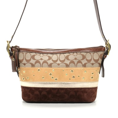 Coach Signature Canva, Suede and Leather Layered Shoulder Bag