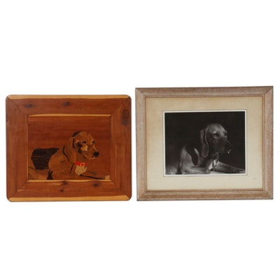 Marquetry and Photograph of Canine Portraits, Late 20th Century