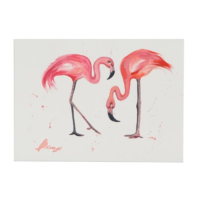 """Anne """"Angor"""" Gorywine Watercolor Painting of Flamingos, 2020"""