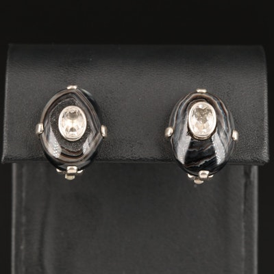 Stephen Dweck Sterling Silver Agate and Topaz Clip Earrings