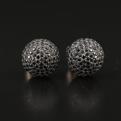 Sterling Pavé Black Spinel Ball Studs